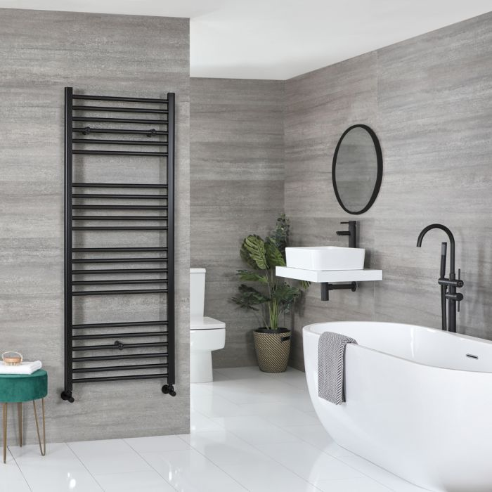 Milano Nero - Matt Black Flat Heated Towel Rail - 1600mm x 500mm