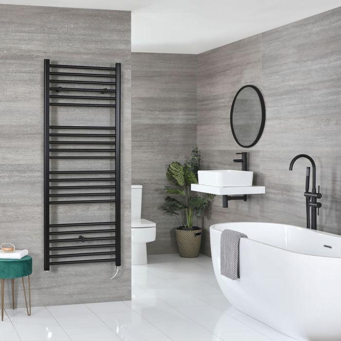 Milano Nero Electric - Black Flat Heated Towel Rail - 1600mm x 500mm
