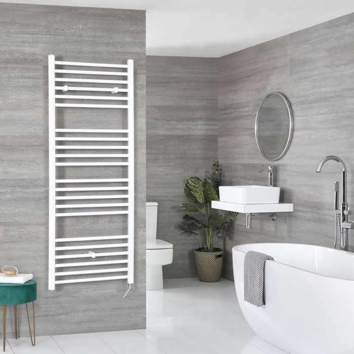 Milano Ive Electric - White Flat Heated Towel Rail - 1600mm x 500mm
