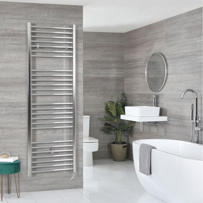 Milano Kent Electric - Chrome Flat Heated Towel Rail - 1800mm x 500mm