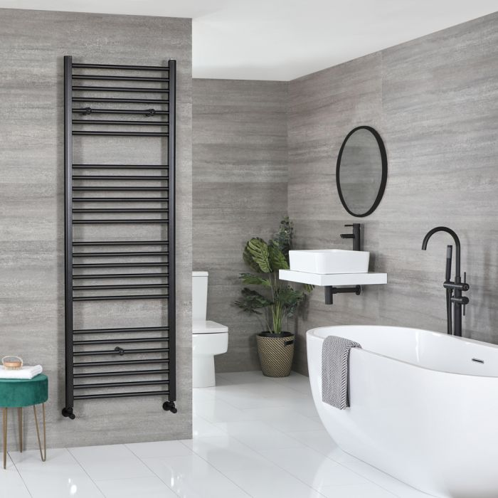Milano Nero - Matt Black Flat Heated Towel Rail - 1800mm x 500mm
