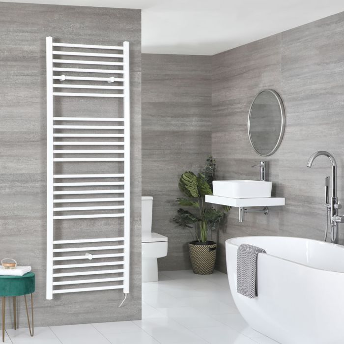 Milano Ive Electric - White Curved Heated Towel Rail - Choice of Size