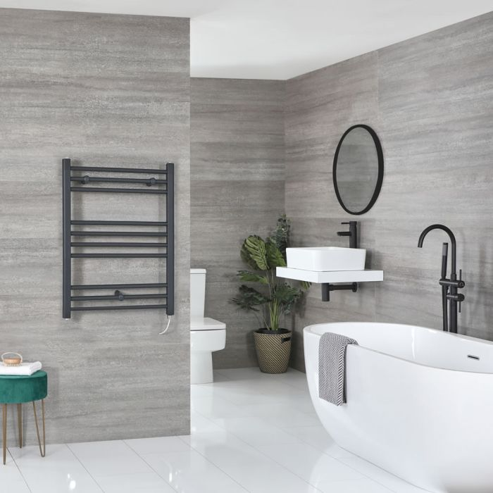 Milano Artle Electric - Anthracite Flat Heated Towel Rail - 800mm x 600mm