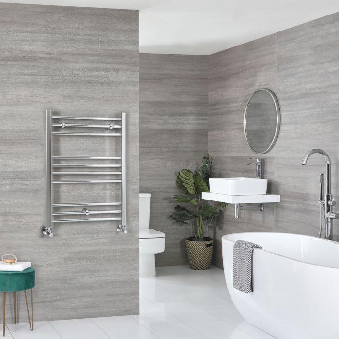 Milano Kent - Chrome Flat Heated Towel Rail - 800mm x 600mm