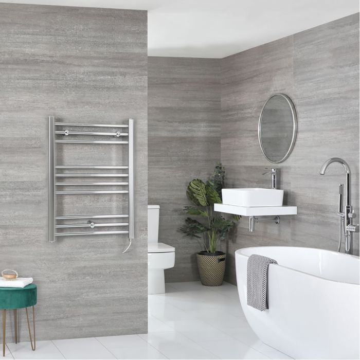 Milano Kent Electric - Chrome Flat Heated Towel Rail - 800mm x 600mm