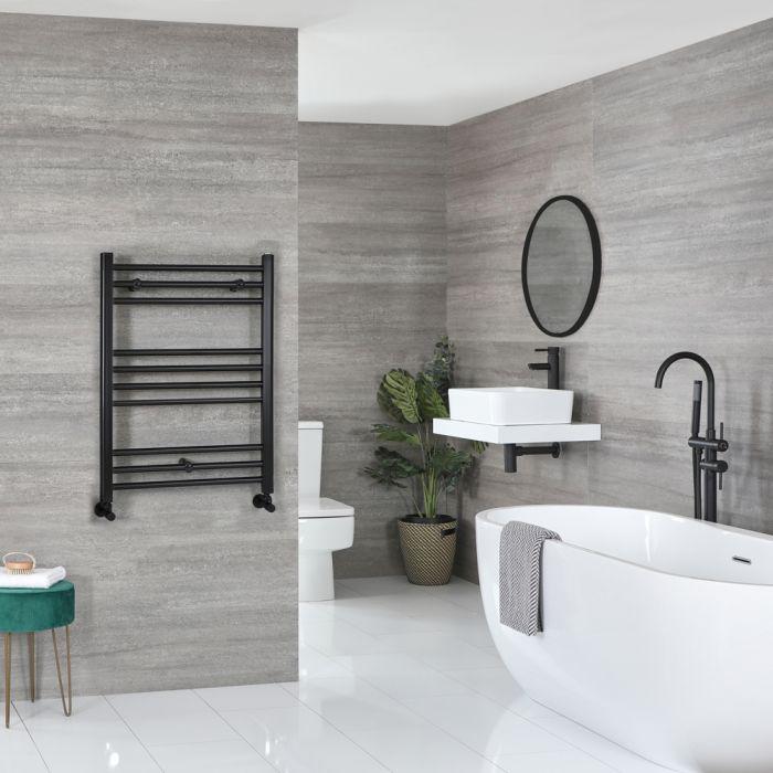 Milano Nero - Matt Black Flat Heated Towel Rail - 800mm x 600mm