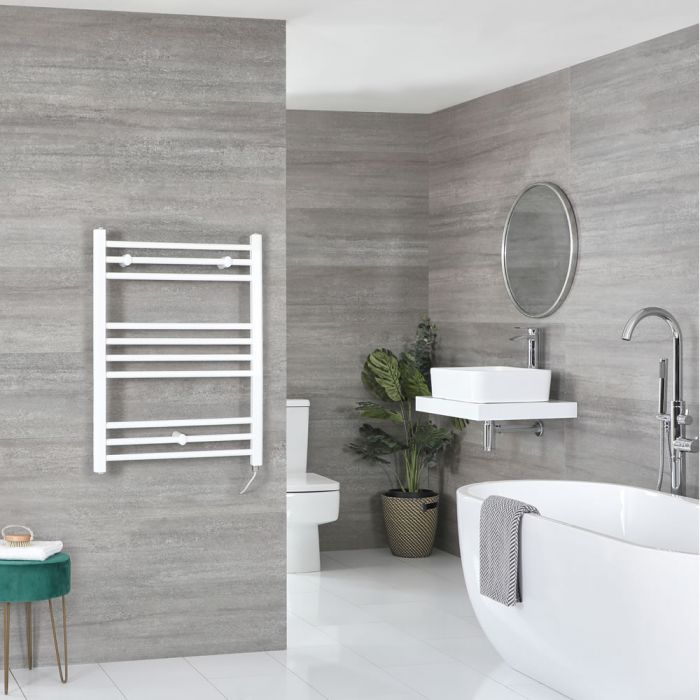 Milano Ive Electric - White Flat Heated Towel Rail - 800mm x 600mm