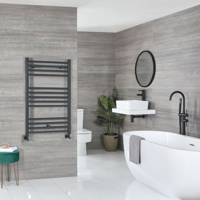Milano Artle - Anthracite Flat Heated Towel Rail - 1000mm x 600mm