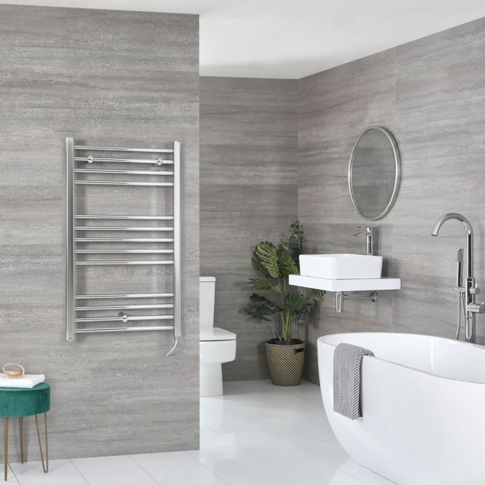 Milano Kent Electric - Chrome Flat Heated Towel Rail - 1000mm x 600mm