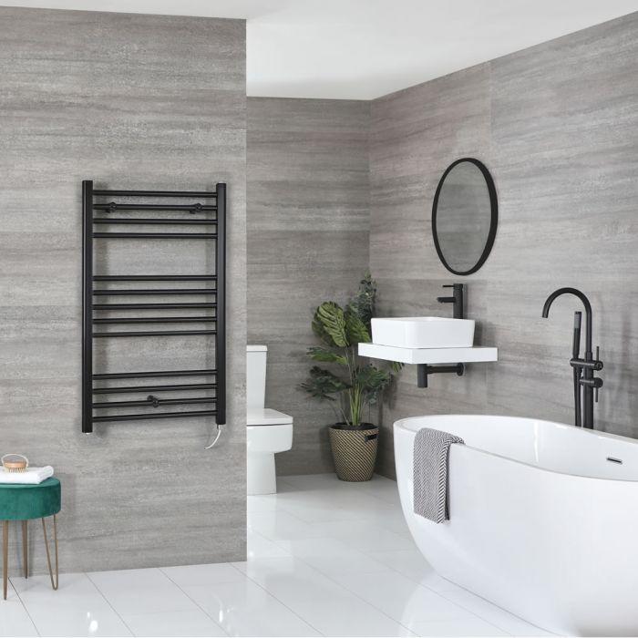 Milano Nero Electric - Black Flat Heated Towel Rail - 1000mm x 600mm