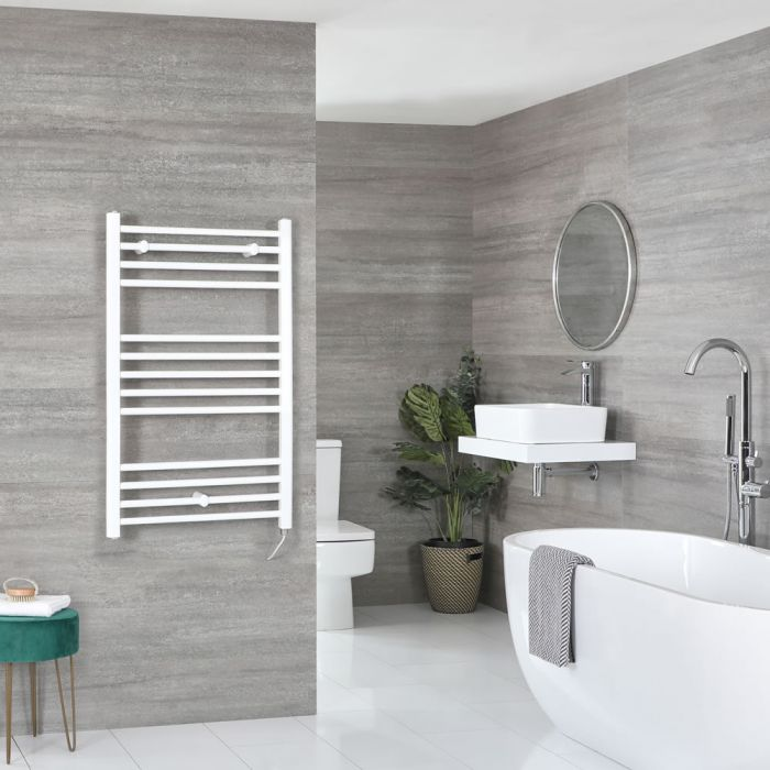 Milano Ive Electric - White Flat Heated Towel Rail - 1000mm x 600mm