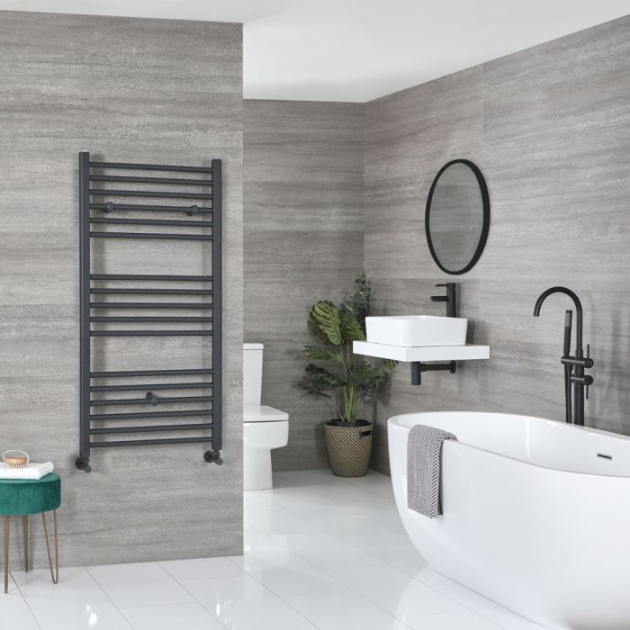 Milano Artle - Anthracite Flat Heated Towel Rail - 1200mm x 600mm