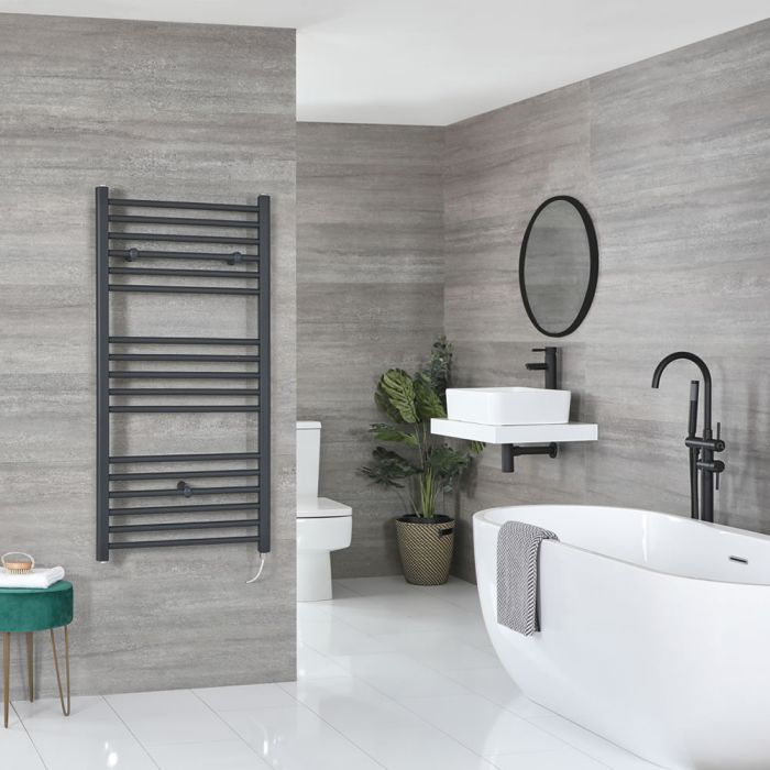 Milano Artle Electric - Anthracite Flat Heated Towel Rail - 1200mm x 600mm