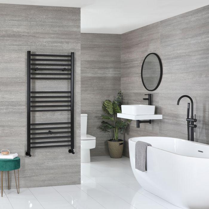 Milano Nero - Matt Black Flat Heated Towel Rail - 1200mm x 600mm