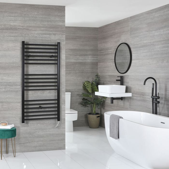 Milano Nero Electric - Black Flat Heated Towel Rail - 1200mm x 600mm