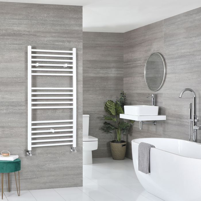 Milano Ive - White Flat Heated Towel Rail - 1200mm x 600mm