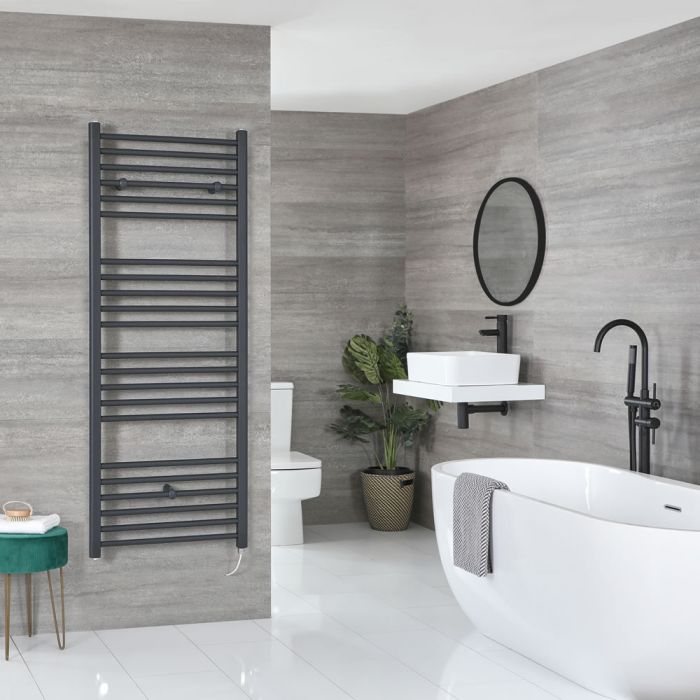 Milano Artle Electric - Anthracite Flat Heated Towel Rail - 1600mm x 600mm