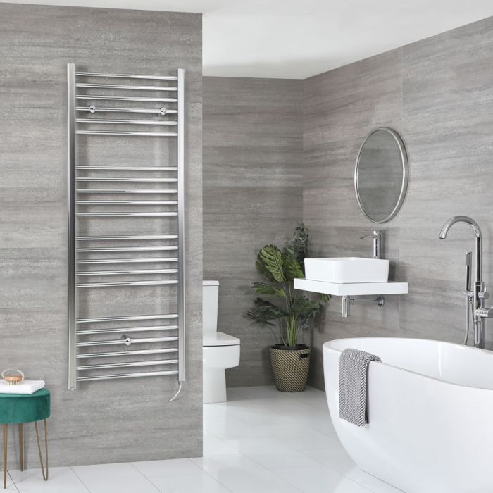 Milano Kent Electric - Chrome Flat Heated Towel Rail - 1600mm x 600mm