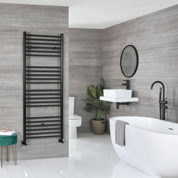 Milano Nero - Matt Black Flat Heated Towel Rail - 1600mm x 600mm