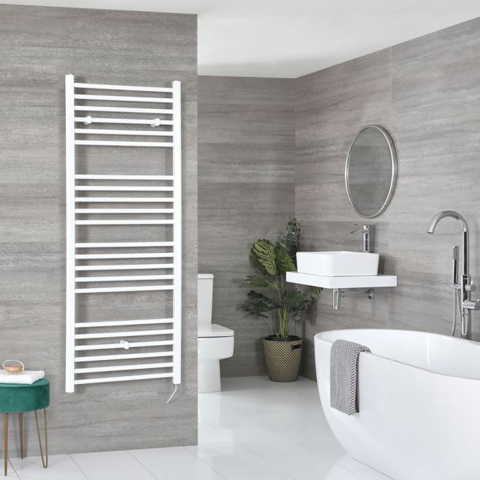 Milano Ive Electric - White Flat Heated Towel Rail - 1600mm x 600mm