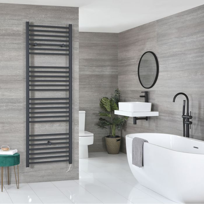 Milano Artle Electric - Anthracite Flat Heated Towel Rail - 1800mm x 600mm