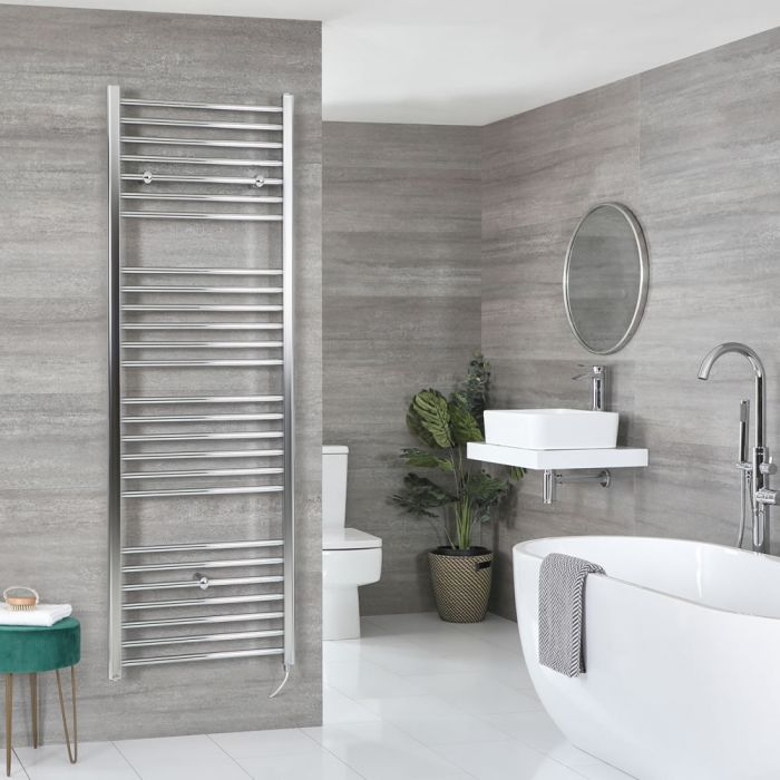 Milano Kent Electric - Chrome Flat Heated Towel Rail - 1800mm x 600mm