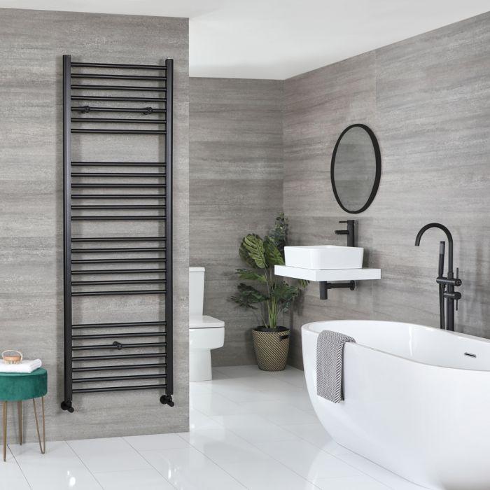 Milano Nero - Matt Black Flat Heated Towel Rail - 1800mm x 600mm
