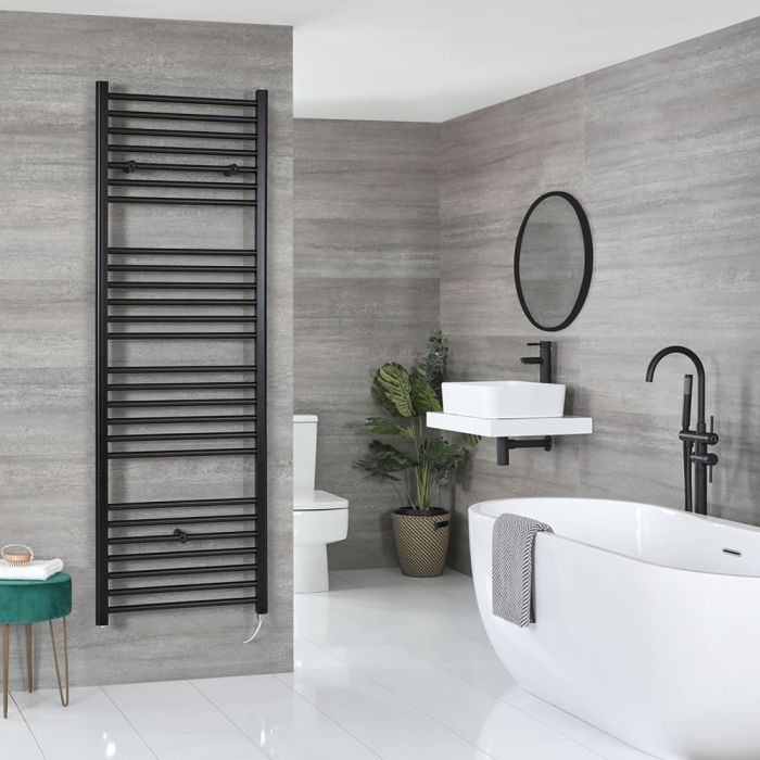 Milano Nero Electric - Black Flat Heated Towel Rail - 1800mm x 600mm