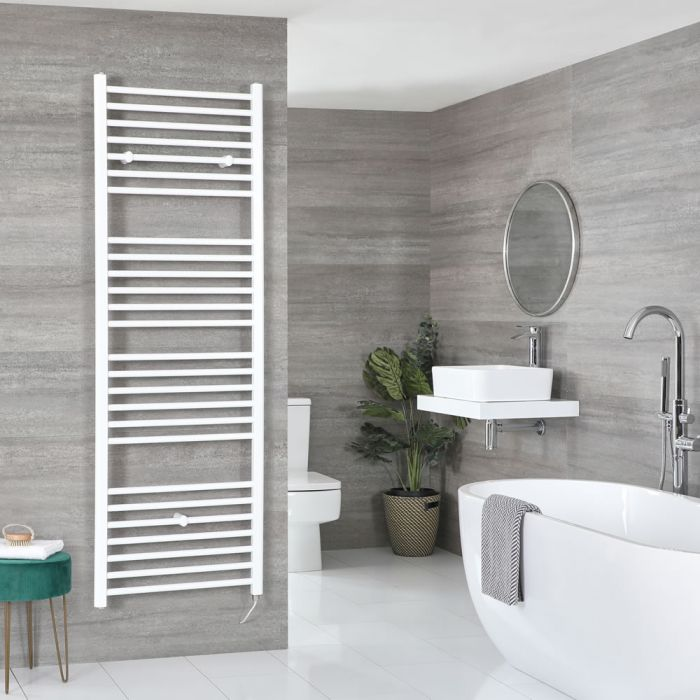 Milano Ive Electric - White Flat Heated Towel Rail - 1800mm x 600mm