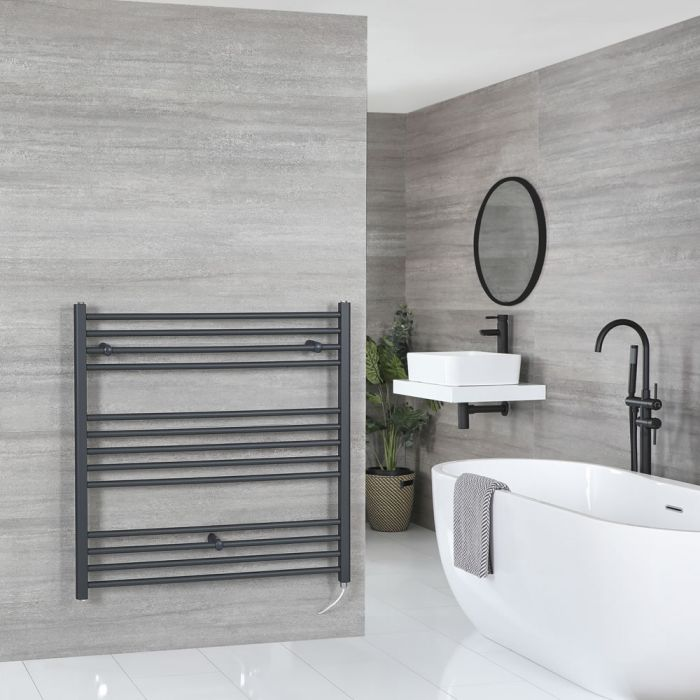 Milano Artle Electric - Anthracite Flat Heated Towel Rail - 1000mm x 1000mm