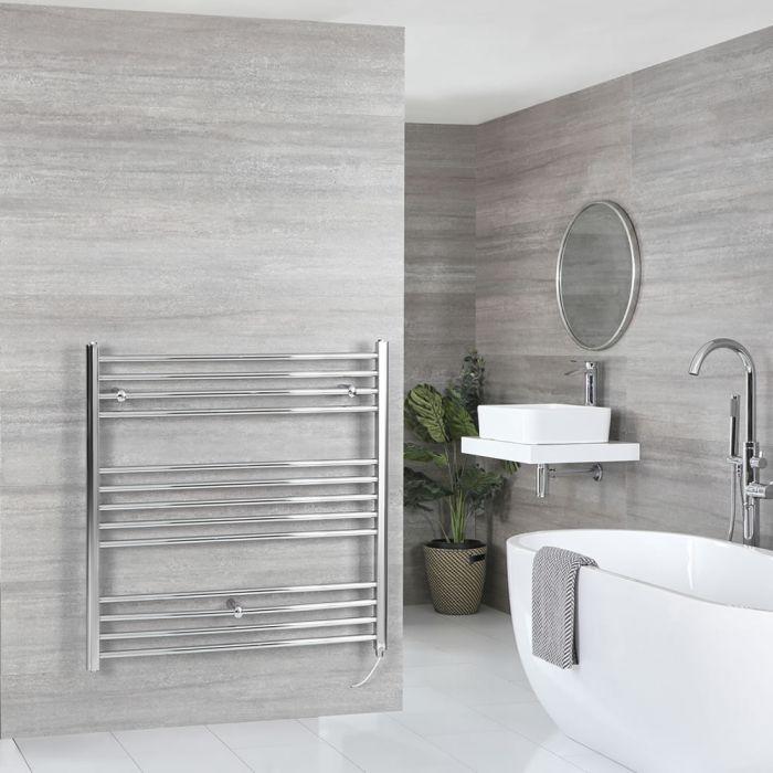 Milano Kent Electric - Chrome Flat Heated Towel Rail - 1000mm x 1000mm