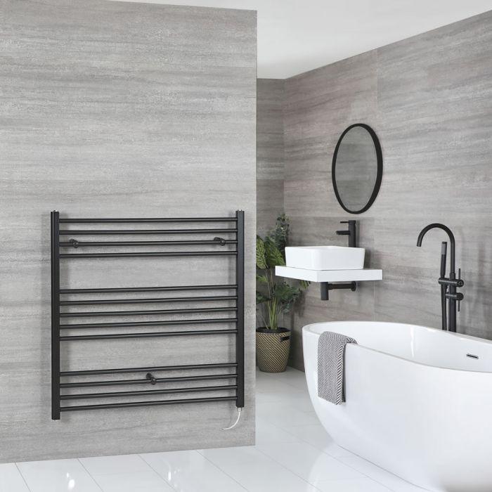 Milano Nero Electric - Black Flat Heated Towel Rail - 1000mm x 1000mm