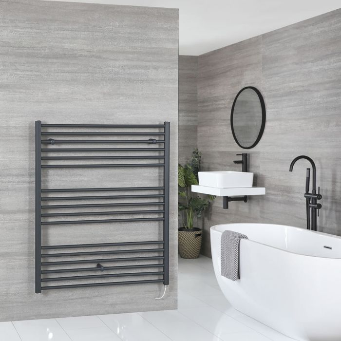 Milano Artle Electric - Anthracite Flat Heated Towel Rail - 1200mm x 1000mm