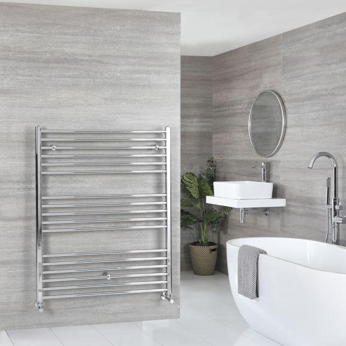 Milano Kent - Chrome Flat Heated Towel Rail - 1200mm x 1000mm