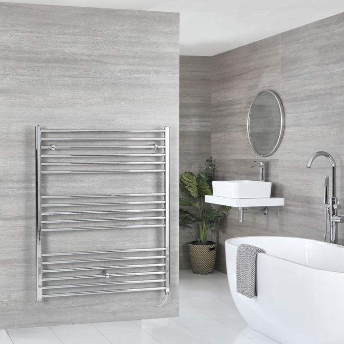 Milano Kent Electric - Chrome Flat Heated Towel Rail - 1200mm x 1000mm