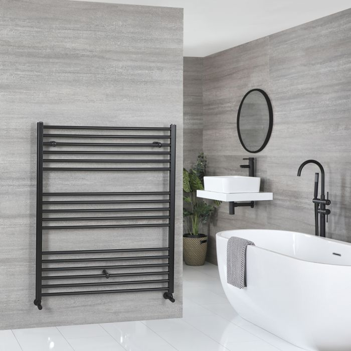 Milano Nero - Matt Black Flat Heated Towel Rail - 1200mm x 1000mm