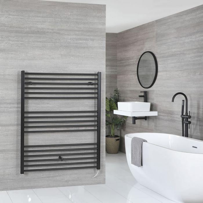 Milano Nero Electric - Black Flat Heated Towel Rail - 1200mm x 1000mm