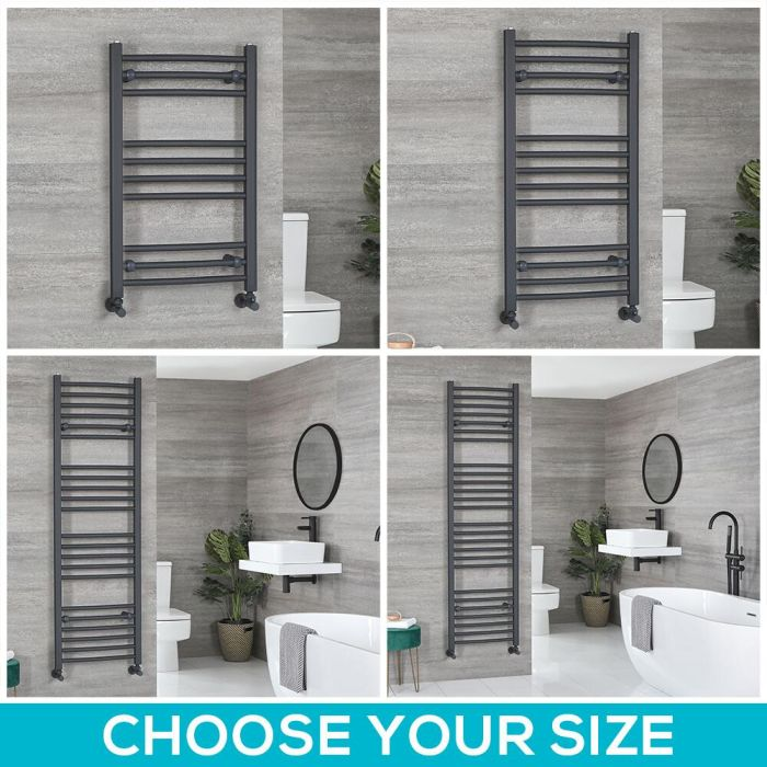 Milano Artle - Anthracite Flat Heated Towel Rail - Choice of Size