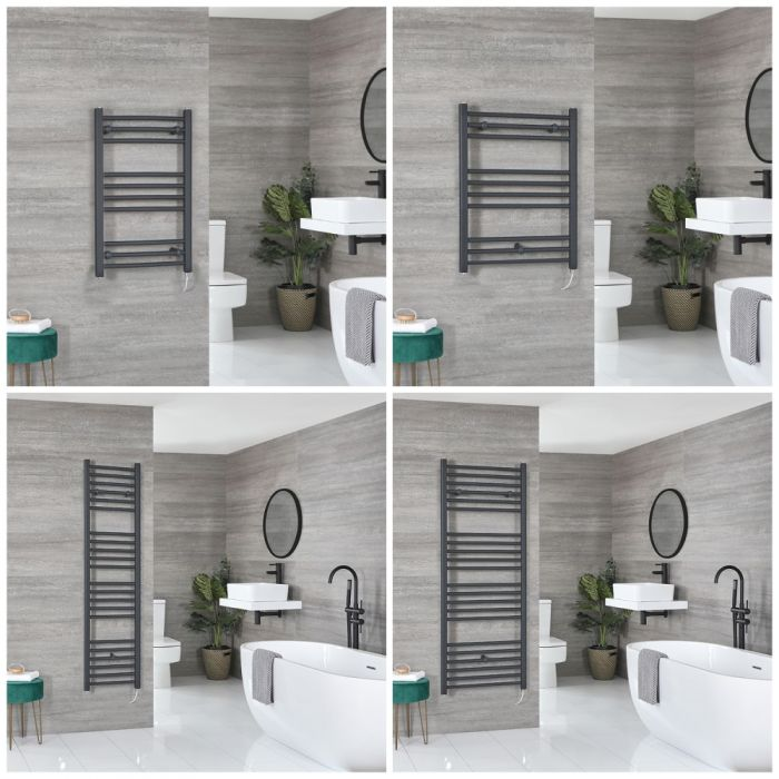 Milano Artle Electric - Anthracite Flat Heated Towel Rail - Choice of Size and Heating Element