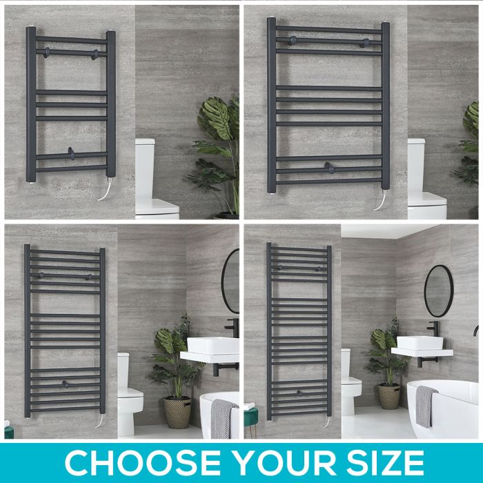 Milano Artle Electric - Anthracite Flat Heated Towel Rail - Choice of Size