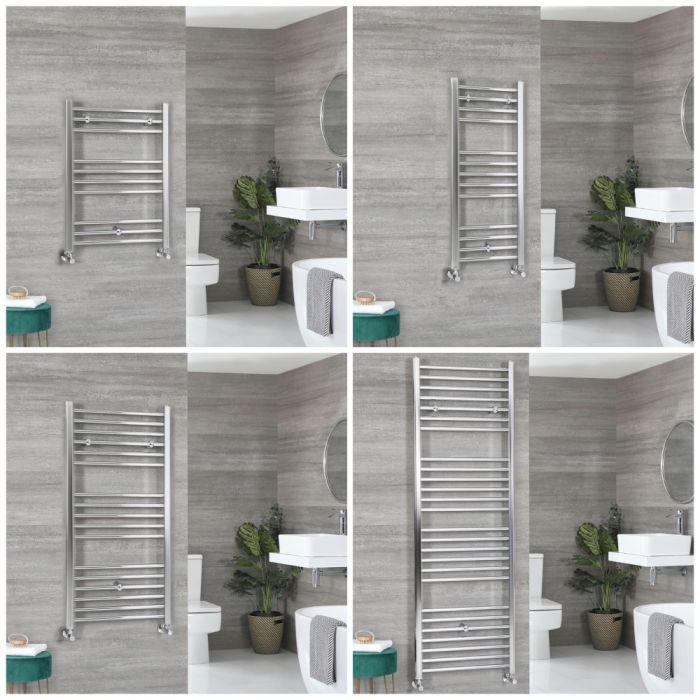 Milano Kent - Chrome Flat Heated Towel Rail - Choice of Size