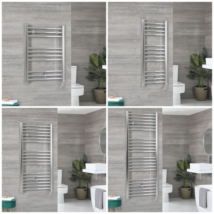 Milano Kent Electric - Chrome Flat Heated Towel Rail - Choice of Size and Heating Element
