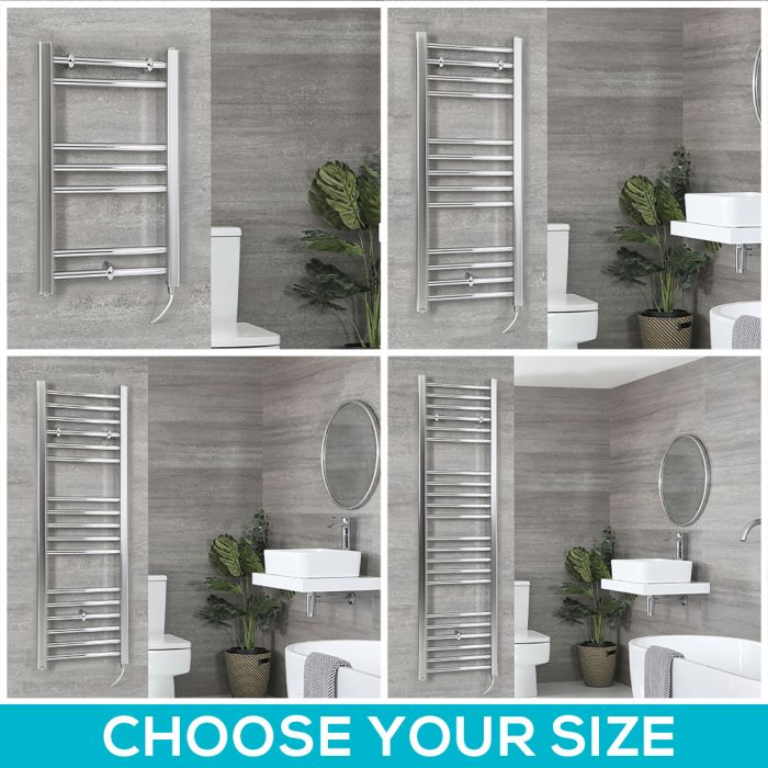 Milano Kent Electric - Chrome Flat Heated Towel Rail - Choice of Size