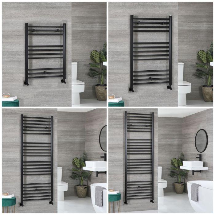 Milano Nero - Black Flat Heated Towel Rail - Choice of Size