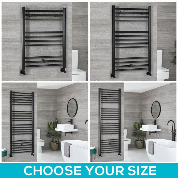 Milano Nero - Black Flat Heated Towel Rail - Choice of Size