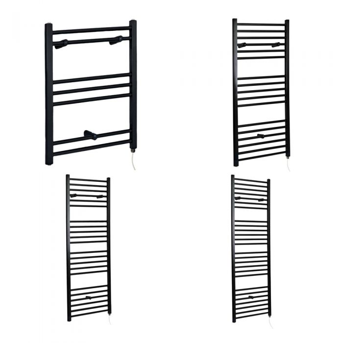 Milano Nero Electric - Black Flat Heated Towel Rail - Choice of Size and Heating Element