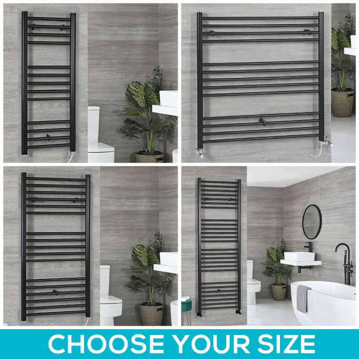 Milano Nero Electric - Black Flat Heated Towel Rail - Choice of Size