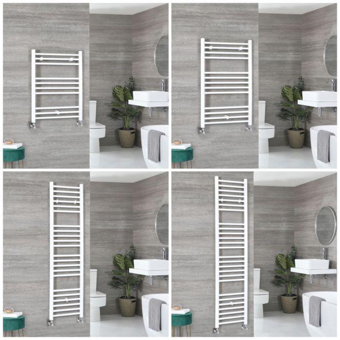 Milano Ive - White Flat Heated Towel Rail - Choice of Size