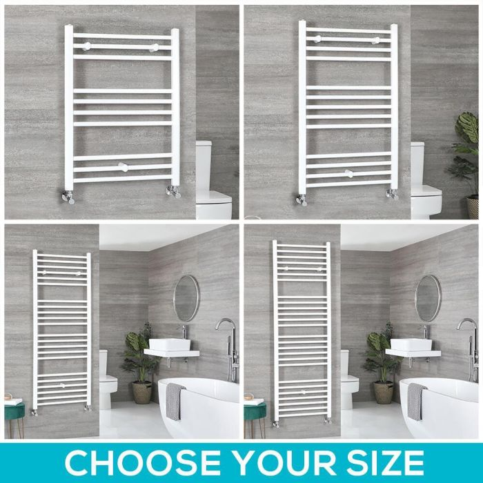 Milano Ive - White Flat Heated Towel Rail - Choice of Size