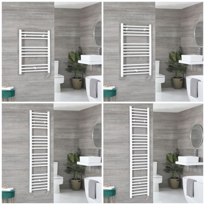 Milano Ive Electric - White Flat Heated Towel Rail - Choice of Size and Heating Element
